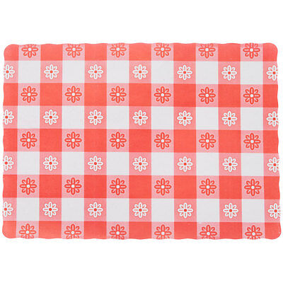 "10"" x 14"" Red Gingham Colored Paper Placemat with Scalloped Edge - 1000/Case"