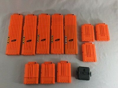 Used Lot of Random Nerf Ammo Clip Magazine Dart Cartridges Lot of 11