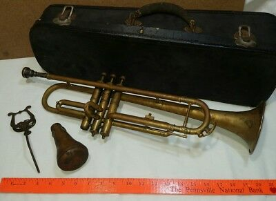 Antique  C.G. CONN -  Antique Brass TRUMPET / CORNET w/ Extras + No Reserve