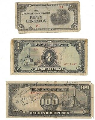 Three Vintage Japanese Government-Issued Philippine Fiat Peso Banknotes- NR!