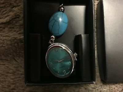Quartz Simulated Semiprecious Stone Clip Watch, Turquoise, New