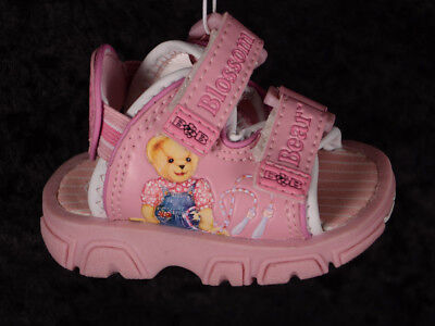 Buster Brown Infant Baby Girls BLOSSOM BEAR Sandals Size 1 PINK Teddy Blue Jean
