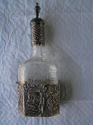 Old German Hanau 800 silver and etched glass liqueur decanter
