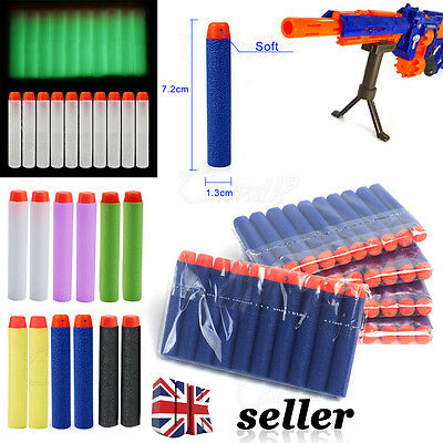 60 Pcs NERF Gun Refill Soft Darts Bullets Toy Gun N -Strike Round Head Blast