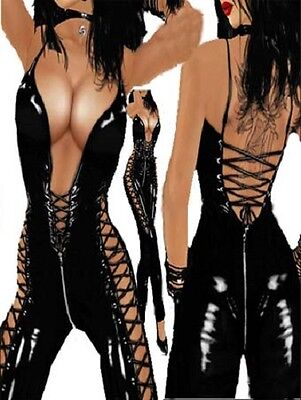Sexy faux Leather/Latex look bodysuit - pole dancer fantasy fetish M7199