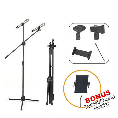 Microphone Stand Telescopic Mic Boom Holder Adjustable Mount Tablet iPad 2 Clips