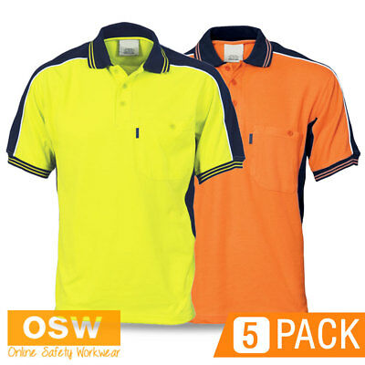 5 X Unisex Hi Vis Yellow/orange Poly Cotton Pique Knit Office Work Polo Shirts