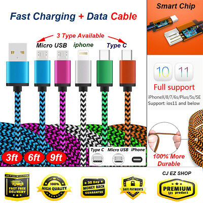Nylon Braided USB Type C Cable 3FT/6FT/9FT Fast Charging cable adapter LOT