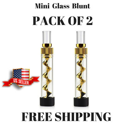 V12 Gold Mini Twisty Glass Blunt Obsolete With Cleaning Kit USA