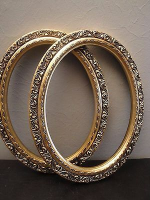 "2 Vintage Oval Wood Frames Gold Gilt Ornate Insert Size 9"" x 12"" Mexico"