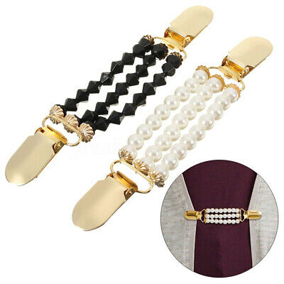 3 Layers Faux Pearls Cardigan Clip Chain No Buttons Sweater Clamp Decor Great