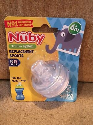 Nuby Replacement Spouts 1 pack 2 Pieces fit 10oz Nuby Sippy Gripper Cup USA 9636