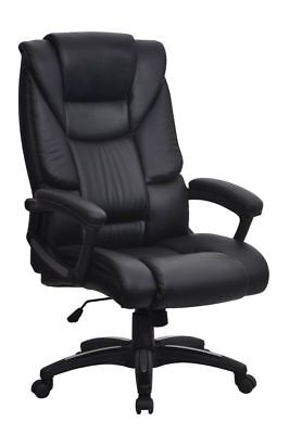 Havana Black Leather Office Desk Swivel Chair Ribbed Back..