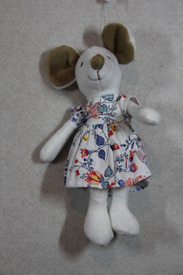 Baby Girl Bebe Plush White Mouse Rattle With Floral Dress NWT