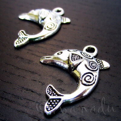 20 Or 50PCs Dolphin Charms 21mm Silver Plated Ocean Beach Pendants C7670-10
