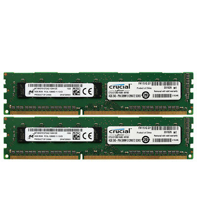 Micron 8GB 2X4GB 2RX8 PC3L-12800E DDR3L-1600 240Pin 1.35V CL11 Ecc Server Memory