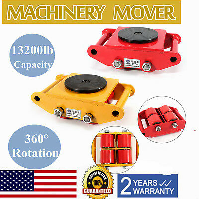 13200lb 6T Machinery Mover Roller Dolly Skate w/360° Swivel Top Plate FREE SHIP