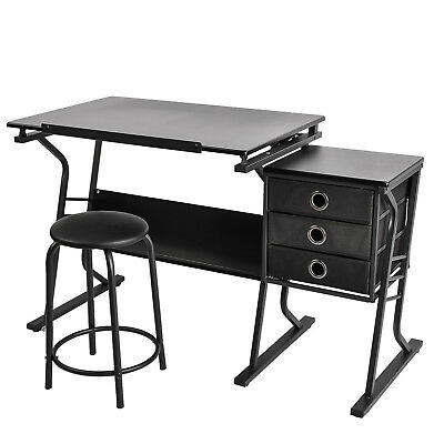 Tiltable Tabletop Adjustable Drawing Table Art Craft Desk with Stool,3 Drawers