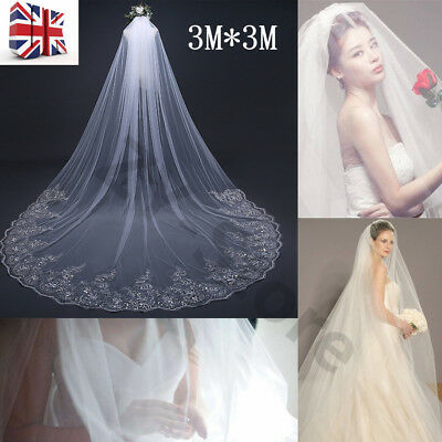 3m Long Ivory/White Lace Applique Edge Bridal Wedding Veil + Comb Cathedral UK