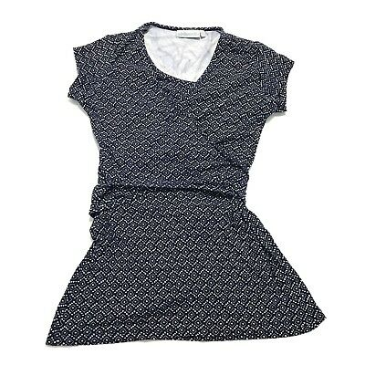 JoJo Maman Bebe Nursing Feeding Wrap Top Blue Pattern S Short Sleeve