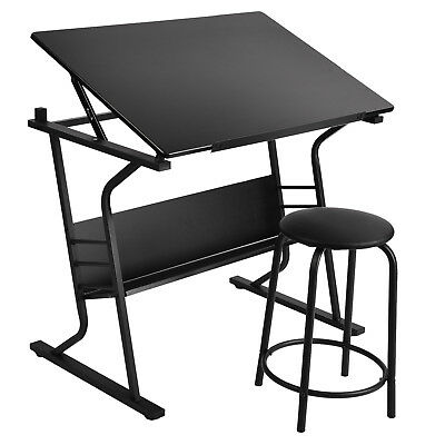 Adjustable Drawing Table Tiltable Tabletop Art Craft Drafting Board with Stool