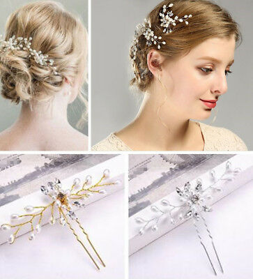 Vintage Wedding Bridal&Bridesmaid Pearl Flower Crystal Hair Pins Clips Side Comb