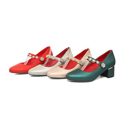 Women's Block Heel Party Shoes Diamante Mary Janes Pumps Beige/Green/Red/Silver
