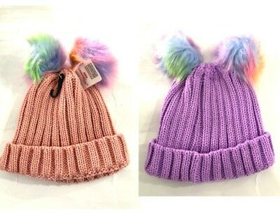 New Kids' Gilrs' Cute Beanie Winter Warm Knitted Hat w Rainbow Pompoms Pink