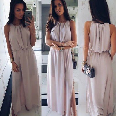 Women Formal Sleeveless Sundress Long Evening Clubwear Summer Cocktail Dress DE