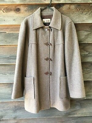 Vintage Retro Outer Ego Brown Duffle Coat Size L
