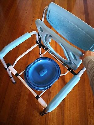 Commode Portable Wheeled Toilet Shower Frame Chair