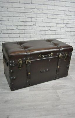 Storage Coffee Table Case Trunk Vintage style Faux Leather with strap and studs