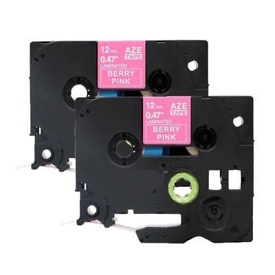 TZe-MQP35 Compatible Brother P-Touch Label Tape Cassette 12mm White on Pink 2PK