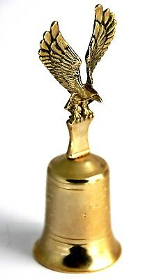 RARE VINTAGE BRASS MADE HAND BELL with BALD EAGLE & ISAIAH 40:31 BIBLE VERSES