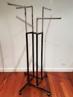 Commercial Shop Fittings Mobile Stainless Not Chrome 4 WAY CLOTHING RACK Stand