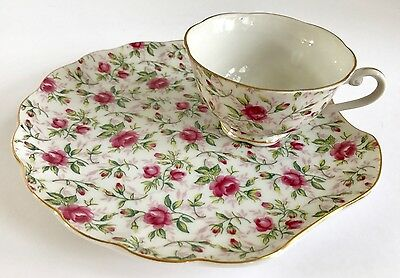 Vintage Lefton Rose Chintz Hand Painted China Snack Plate with Teacup