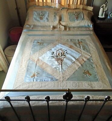 Antique Victorian Blue Satin & Lace Embroidered Baskets Bed & Pillow Cover Set