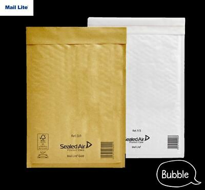 Mail Lite Bubble Padded Envelopes Mailer Bags White or Gold A000 B00 C0 D1 F3 E2