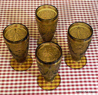 INDIANA depression glass SANDWICH pattern AMBER ~ 4 10 oz Footed Tumblers