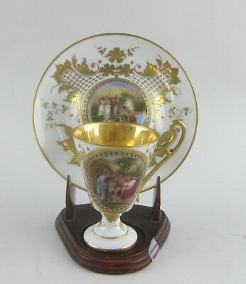 Incredible Royal Vienna Hand Painted/Enameled Cup & Saucer