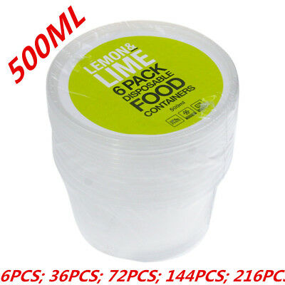 500ML ROUND TAKE AWAY CONTAINERS with LIDS DISPOSABLE PLASTIC FOOD CONTAINER WMC