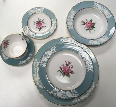 SPODE COPELAND OLD COLONY ROSE Y6447 6 Piece Place Setting Vintage MINT COND