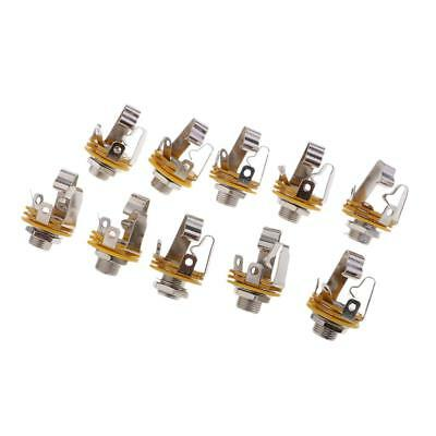 10pcs 6.35mm Stereo Socket Jack Female Connector Panel Mount