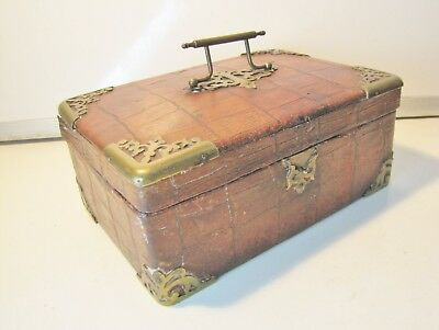 "Antique LEATHER Covered BOX with BRASS FITTINGS Spares Repairs Approx.8""x5""x3.5"""