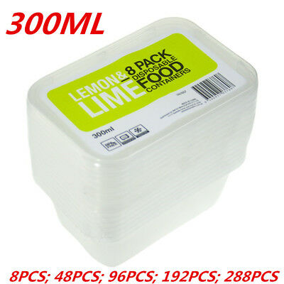 300ML RECTANGLE TAKEAWAY CONTAINERS w LIDS DISPOSABLE PLASTIC FOOD CONTAINER WMC