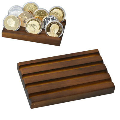 WR 4-Row Challenge Coin / Casino Chip Display Stand Rack Wood Holder Tray Gifts