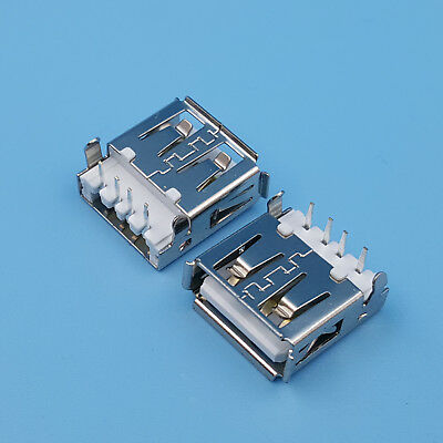 10Pcs USB Type A Female 90 Degrees 4Pin DIP Socket PCB Mount Jack Connector