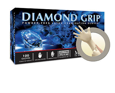 Microflex Inc MF-300-L Diamond Grip PF Latex Gloves Large 100/Bx MF300L