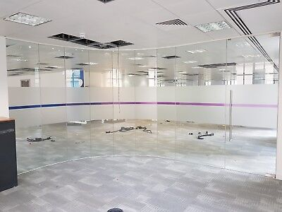 6.47 Metre Wide Single Office Glass Partition System With A Glass Door For £650