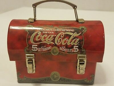 Vintage Coca-Cola Tin Collectible Mini Tin Lunch Box 5c at Fountain 5c in Bottle